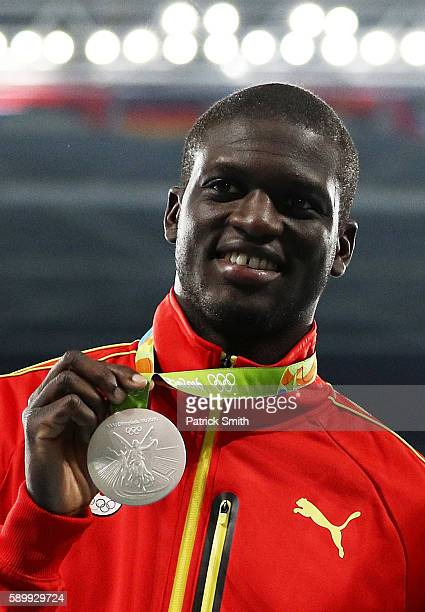 Silver medalist Kirani James of Grenada poses on the podium during the medal ceremony for the Men's 400 metres on Day 10 of the Rio 2016 Olympic...