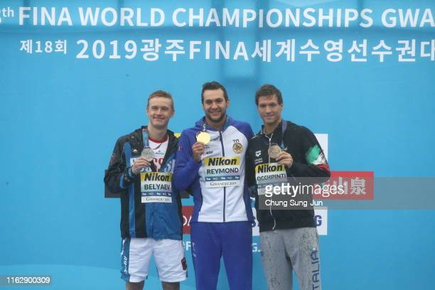 Silver medalist Kirill Belyaev of Russia gold medalist Axel Reymond of France and bronze medalist Alessio Occhipinti of Italy pose during the medal...