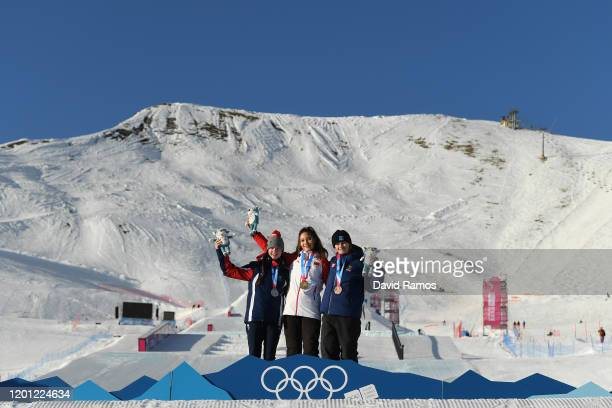 Silver medalist Kirsty Muir of Great Britain, gold medalist Ailing Eileen Gu of China and bronze medalist Jennie-Lee Burmansson of Sweden pose for a...