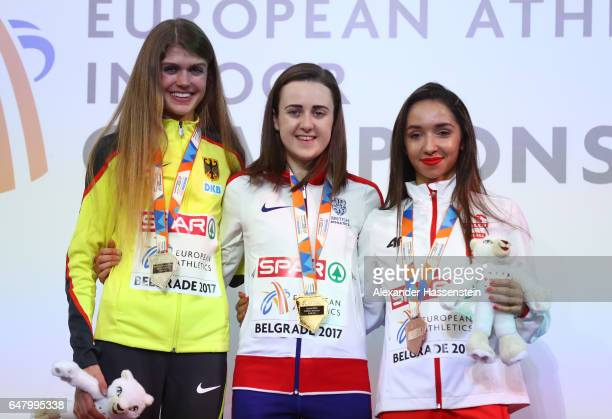 Silver medalist Konstanze Klosterhalfen of Germany gold medalist Laura Muir of Great Britain and bronze medalist Sofia Ennaoui of Poland pose during...