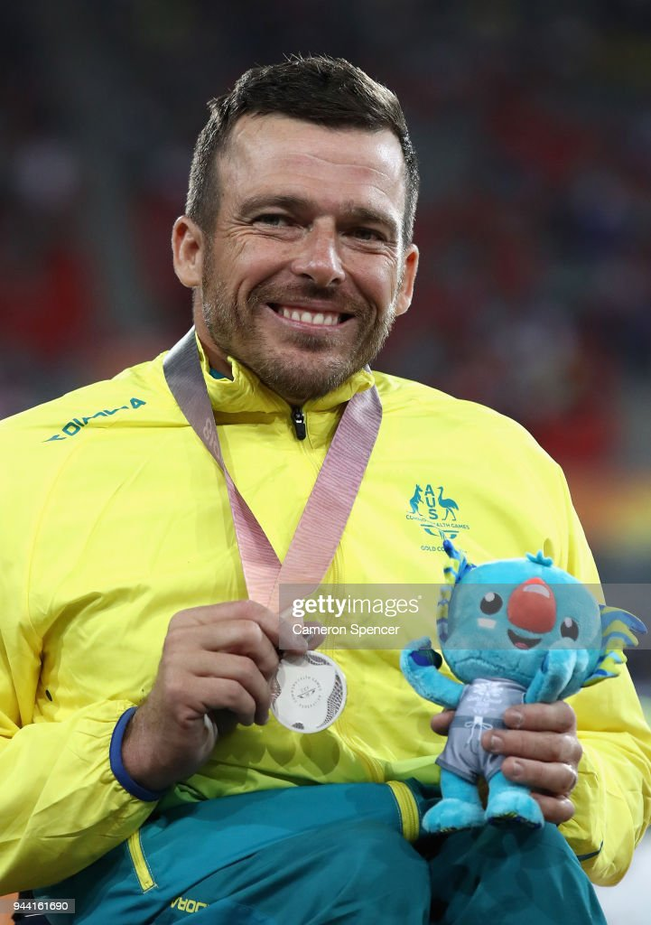 Silver medalist Kurt Fearnley of Australia poses during the medal ceremony for the Men's T54 1500 metres during the Athletics on day six of the Gold Coast 2018 Commonwealth Games at Carrara Stadium on April 10, 2018 on the Gold Coast, Australia.