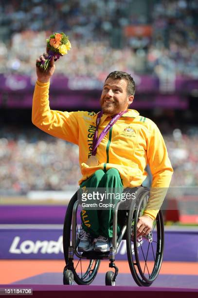 Silver medalist Kurt Fearnley of Australia poses on the podium during the medal ceremony for the Men's 5000m T54on day 5 of the London 2012...
