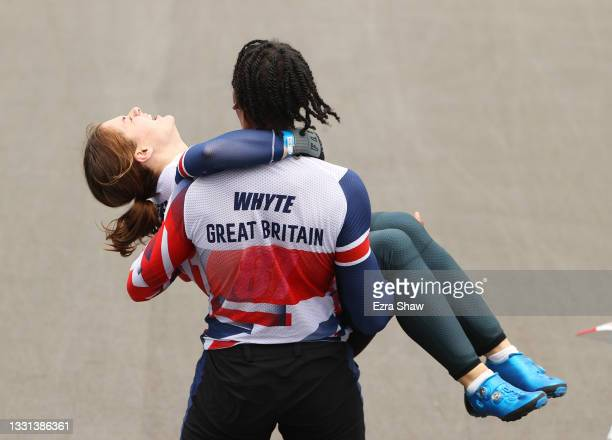 Silver medalist Kye Whyte of Team Great Britain and gold medalist Bethany Shriever of Team Great Britain celebeate during the BMX final on day seven...