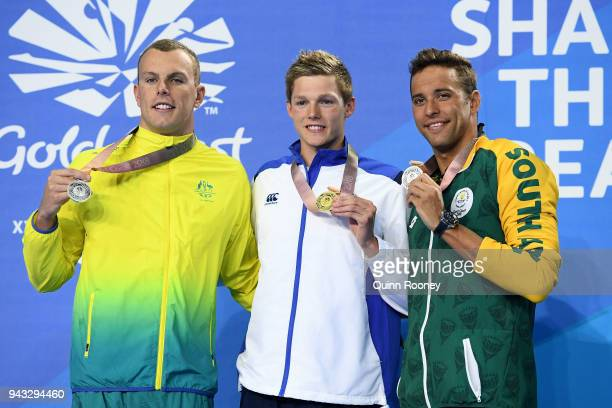 Silver medalist Kyle Chalmers of Australia gold medalist Duncan Scott of Scotland and silver medalist Chad le Clos of South Africa pose during the...