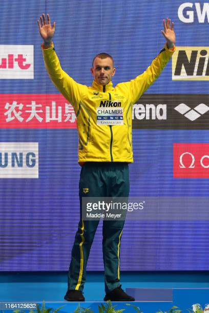 Silver medalist Kyle Chalmers of Australia poses during the medal ceremony for the Men's 100m Freestyle Final on day five of the Gwangju 2019 FINA...