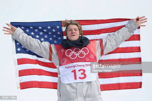 Silver medalist Kyle Mack of the United States celebrates during the victory ceremony after the Men's Big Air Final on day 15 of the PyeongChang 2018...