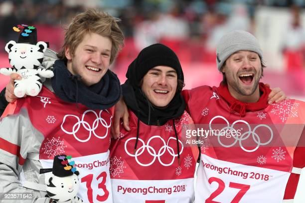Silver medalist Kyle Mack of the United States gold medalist Sebastien Toutant of Canada and bronze medalist Billy Morgan of Great Britain celebrate...