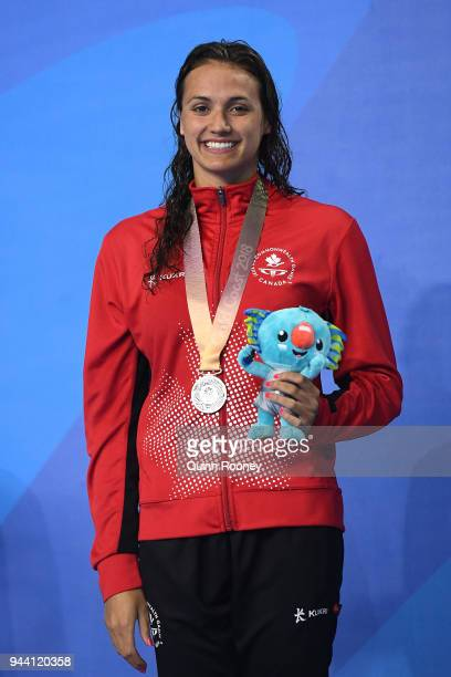 Silver medalist Kylie Masse of Canada poses during the medal ceremony for the Women's 50m Backstroke Final on day six of the Gold Coast 2018...
