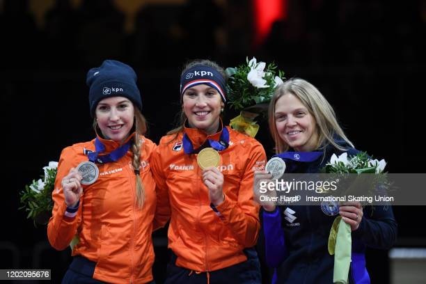Silver medalist Lara van Ruijven of the Netherland gold medalist Szuanne Schulting of the Netherlands and bronze medalist Arianna Fontana of Italy...