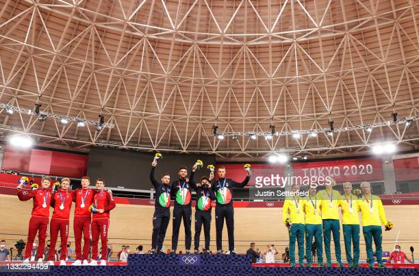 Silver medalist Lasse Norman Hansen, Niklas Larsen, Frederik Madsen and Rasmus Pedersen of Team Denmark, gold medalist Simone Consonni, Filippo...