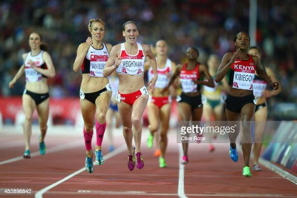 Silver medalist Laura Weightman of England and gold medalist Faith Kibiegon of Kenya sprint to the finish line in the Women's 1500 metres final at...