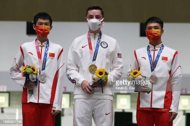 Silver Medalist Lihao Sheng of Team China, Gold Medalist William Shaner of Team United States, and Bronze Medalist Haoran Yang of Team China on the...