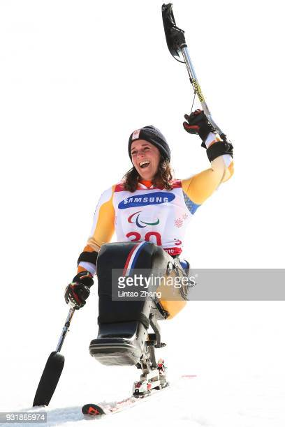 Silver Medalist Linda van Impelen of the Netherlands celebrates during the victory ceremony following the Women's Giant Slalom Run 2 Sitting day five...