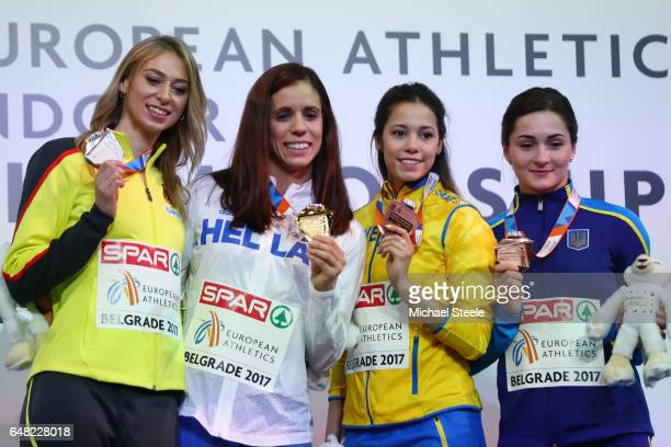 R Silver medalist Lisa Ryzih of Germany gold medalist Ekaterini Stefanidi of Greece and bronze medalists Angelica Bengtsson of Sweden and Maryna...