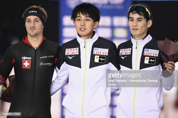 Silver medalist Livio Wenger of Sweden gold medalist Masaya Yamada of Japan and bronze medalist Shane Williamson of Japan pose during the medal...