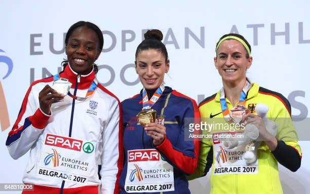 Silver medalist Lorraine Ugen of Great Britain gold medalist Ivana Spanovic of Serbia and bronze medalist Claudia SalmanRath of Germany pose during...