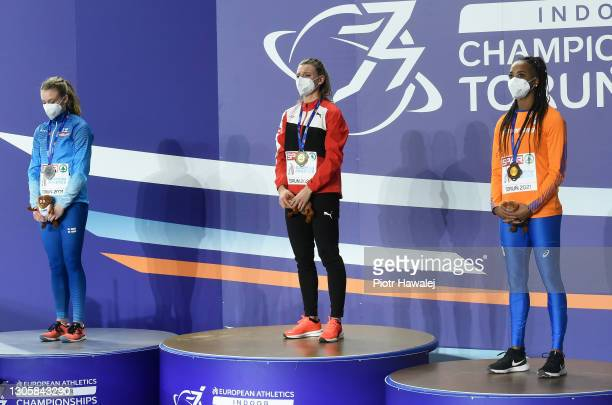 Silver medalist Lotta Kemppinen of Finland, gold medalist Ajla Del Ponte of Switzerland and bronze medalist Jamile Samuel of Netherlands pose for a...