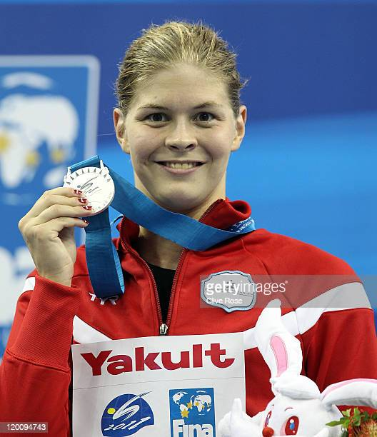 Silver medalist Lotte Friis of Denmark poses after the Women's 800m Freestyle Final during Day Fifteen of the 14th FINA World Championships at the...