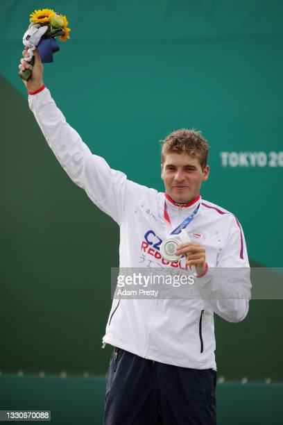 Silver medalist Lukas Rohan of Team Czech Republic poses with his medal following the Men's Canoe Slalom Final on day three of the Tokyo 2020 Olympic...