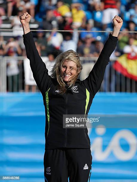 Silver medalist Luuka Jones of New Zealand celebrates on the podium during the medal ceremony for the Women's Kayak on Day 6 of the Rio 2016 Olympics...