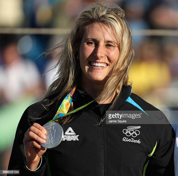 Silver medalist Luuka Jones of New Zealand stands on the podium during the medal ceremony for the Women's Kayak on Day 6 of the Rio 2016 Olympics at...