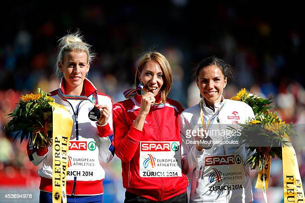 Silver medalist Lynsey Sharp of Great Britain and Northern Ireland gold medalist Maryna Arzamasova of Belarus and bronze medalist Joanna Jozwik of...