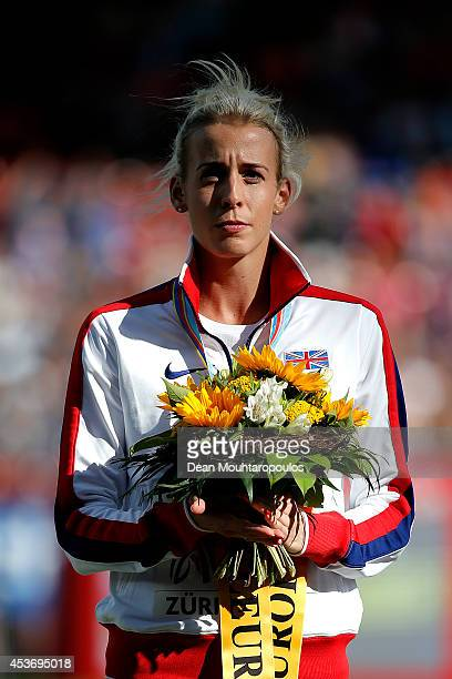 Silver medalist Lynsey Sharp of Great Britain and Northern Ireland stands on the podium during the medal ceremony for the Women's 800 metres final...