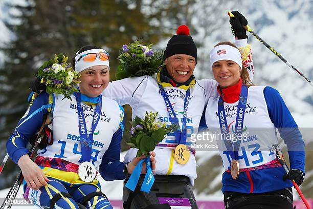 Silver medalist Lyudmyla Pavlenko of Ukraine gold medalist Andrea Eskau of Germany and bronze medalist Oksana Masters of the United States pose...