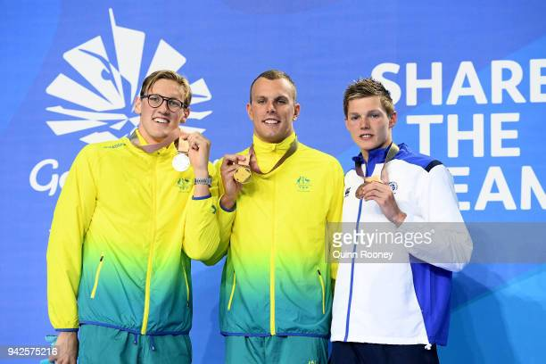 Silver medalist Mack Horton of Australia gold medalist Kyle Chalmers of Australia and Bronze medalist Duncan Scott of Scotland pose during the medal...