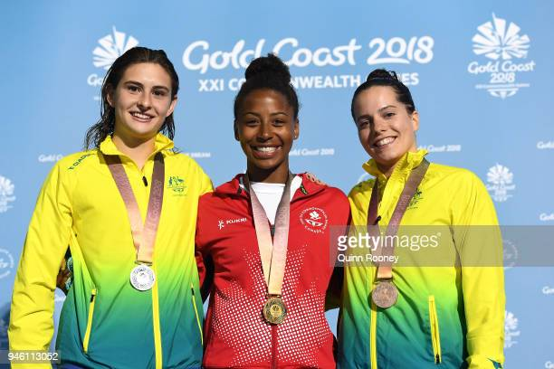 Silver medalist Maddison Keeney of Australia gold medalist Jennifer Abel of Canada and bronze medalist Anabelle Smith of Australia pose during the...