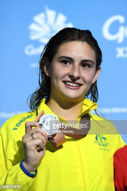 Silver medalist Maddison Keeney of Australia poses during the medal ceremony for the Women's 3m Springboard Diving Final on day 10 of the Gold Coast...
