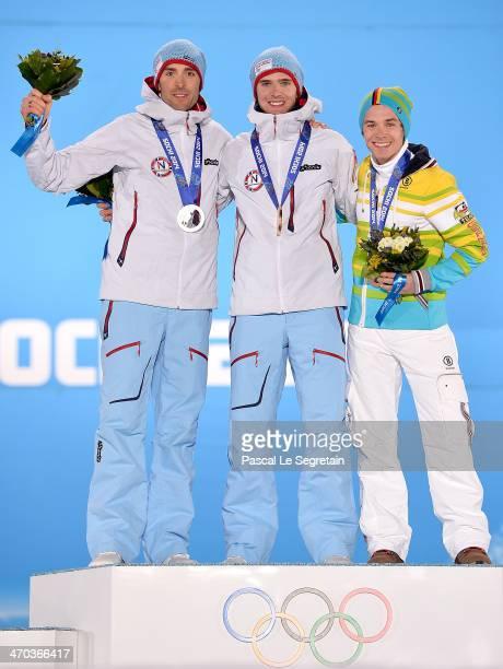 Silver medalist Magnus Hovdal Moan of Norway gold medalist Joergen Graabak of Norway and bronze medalist Fabian Riessle of Germany celebrate on the...