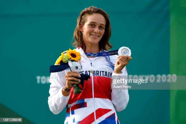 Silver medalist Mallory Franklin of Team Great Britain celebrates at the medal ceremony following the Women's Canoe Slalom final on day six of the...