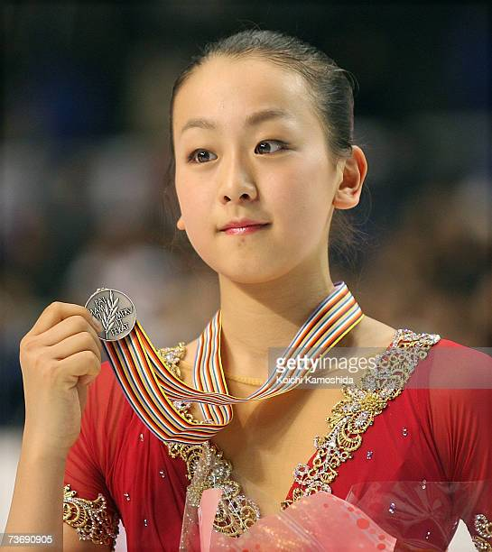 Silver medalist Mao Asada of Japan poses after the medals ceremony during the women's Free Skating program at the World Figure Skating Championships...