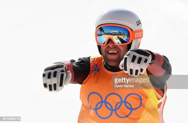Silver medalist Marc Bischofberger of Switzerland celebrates following the Freestyle Skiing Men's Ski Cross Big Final on day 12 of the PyeongChang...