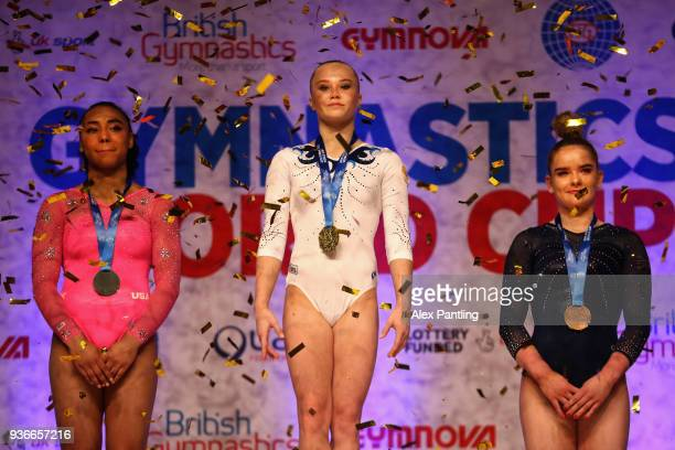 Silver medalist Margzetta Frazier of The United States gold medalist Angelina Melnikova of Russia and bronze medalist Alice Kinsella of Great Britain...