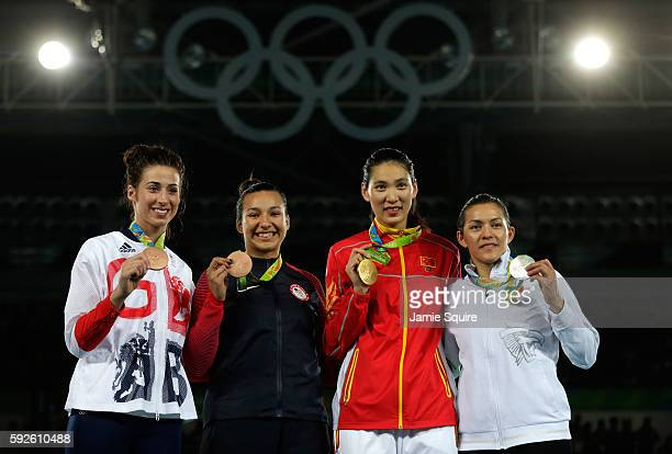 Silver medalist Maria del Rosario Espinoza Espinoza of Mexico Gold medalist Shuyin Zheng of China and Bronze medalists Jackie Galloway of the United...