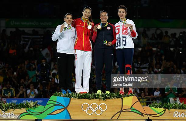 Silver medalist Maria del Rosario Espinoza Espinoza of Mexico Gold medalist Shuyin Zheng of China and Bronze medalists Jackie Galloway of the United...