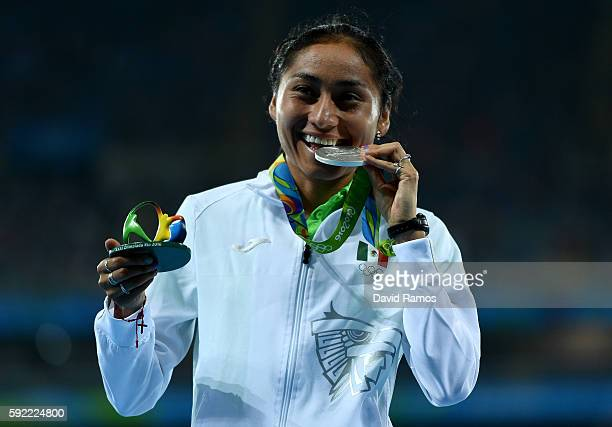Silver medalist, Maria Guadalupe Gonzalez of Mexico, poses on the podium during the medal ceremony for the Women's 20km Race walk on Day 14 of the...
