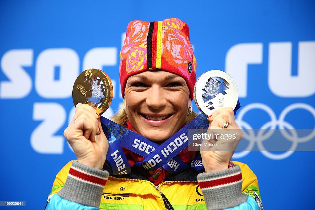 Silver medalist Maria Hoefl-Riesch of Germany celebrates during the medal ceremony for the Women's Skelton on day 8 of the Sochi 2014 Winter Olympics at Medals Plaza on February 15, 2014 in Sochi, Russia.