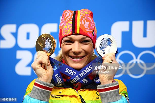 Silver medalist Maria Hoefl-Riesch of Germany celebrates during the medal ceremony for the Women's Skelton on day 8 of the Sochi 2014 Winter Olympics...