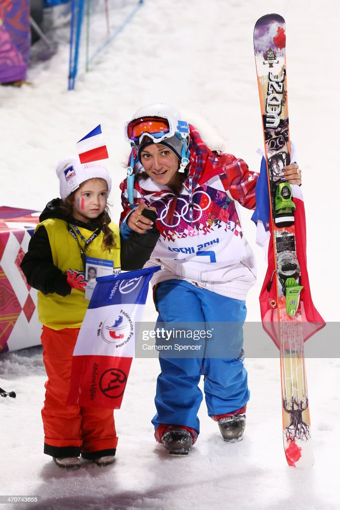 Silver medalist Marie Martinod of France poses with daughter Melirose after the Freestyle Skiing Ladies' Ski Halfpipe Finals on day thirteen of the 2014 Winter Olympics at Rosa Khutor Extreme Park on February 20, 2014 in Sochi, Russia.