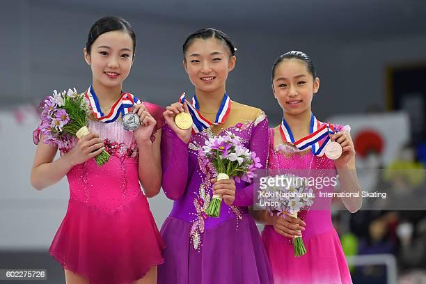 Silver medalist Marin Honda of Japan and Gols medalist Gold medalist Kaori Sakamoto of Japan and Bronze medalist Mako Yamashita of Japan pose for...