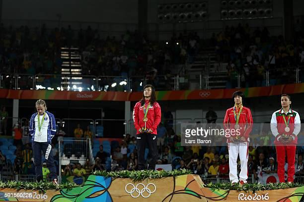 Silver medalist Mariya Stadnik of Azerbaijan, gold medalist Eri Tosaka of Japan, bronze medalist Yanan Sun of China and bronze medalist Elitsa...