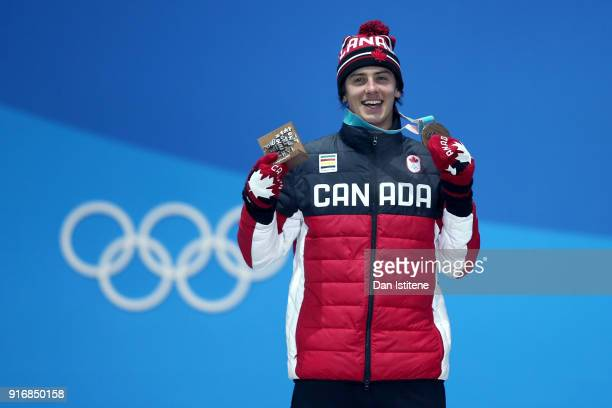 Silver medalist Mark McMorris of Canada celebrates on the podum during the Medal Ceremony for the Men's Snowboard Slopestyle on day two of the...