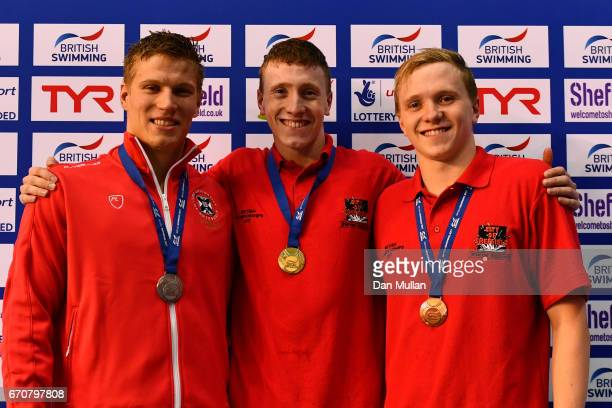 Silver medalist Mark Szaranek of Edinburgh Uni gold medalist Max Litchfield of Co Sheffield and bronze medalist Joe Litchfield of Co Sheffield pose...
