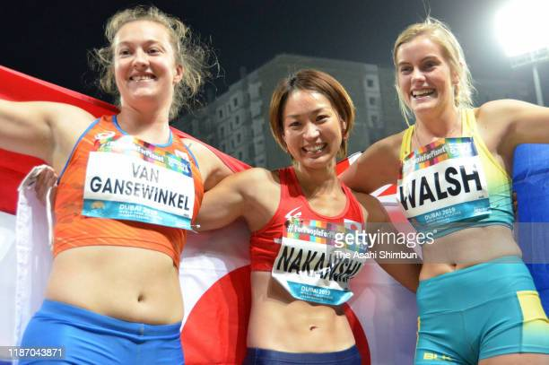 Silver medalist Marlene van Gansewinkel of the Netherlands, gold medalist Maya Nakanishi of Japan and bronze medalist Sarah Walsh of Australia...