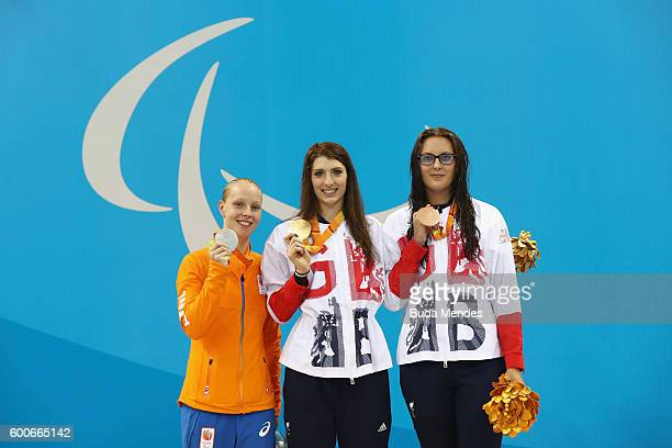Silver medalist Marlou van der Kulk of the Netherlands Gold medalist Bethany Firth of Great Britain and Bronze medalist JessicaJane Applegate of...