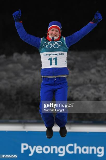 Silver medalist Marte Olsbu of Norway poses during the victory ceremony for the Women's Biathlon 75km Sprint on day one of the PyeongChang 2018...