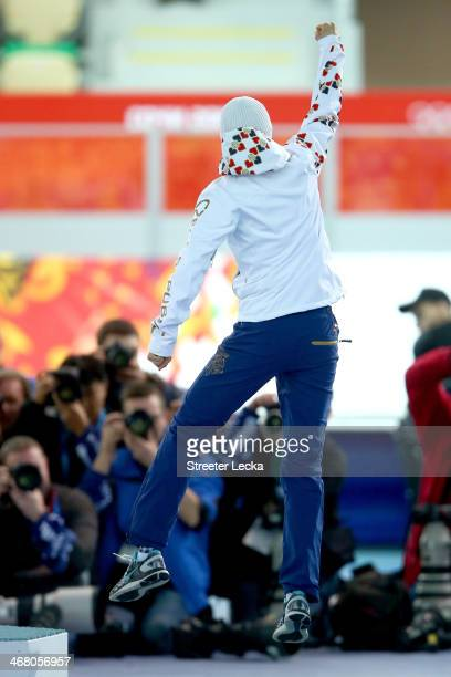 Silver medalist Martina Sablikova of the Czech Republic celebrates on the podium during the flower ceremony for the Women's 3000m Speed Skating event...
